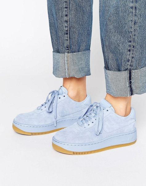 hot sale online b60cd d7d45 Nike Air Force 1 Upstep Premium Trainers In Blue Suede