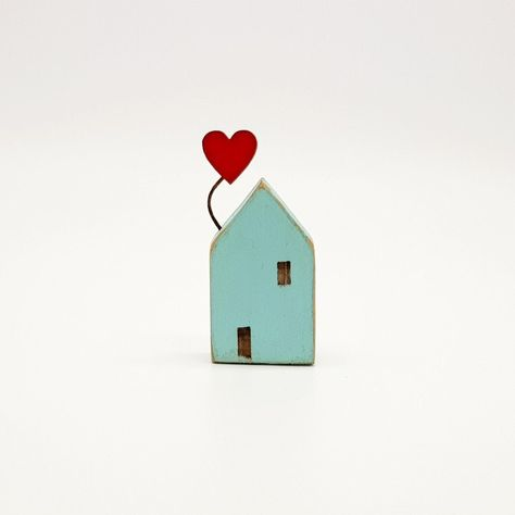 Back in stock ❤ Little aqua green coastal cottage with single red heart balloon. #littlewoodenhouse #bspoque #etsy #handcrafted #coastalcottage #loveheart #hearts #heartballoon #cornishcottage #driftwoodcottage #mothersdaygift #birthdaygift #anniversarygift #newhomegift #housewarminggift