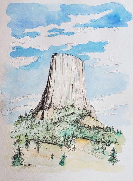 Devils Tower In 2020 Epic Drawings Drawings Ink