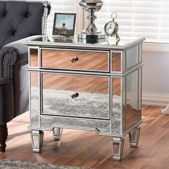 Laurine 2 Drawer Nightstand Bedroom Night Stands Mirrored Nightstand Upholstered Storage