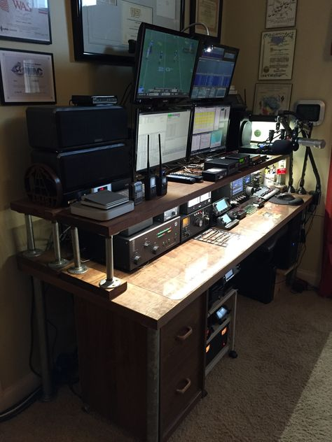 For the last few years I've used a folding table, bricks and a piece of light shelving for a make-shift ham radio desk. I finally decided that I needed something that was a little more perma… Radios, Computer Setup, Desk Setup, Panic Rooms, Electronic Workbench, Ham Radio Antenna, Gun Rooms, Safe Room, Home Office Setup