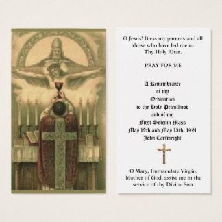Traditional Catholic Priest Ordination Holy Cards