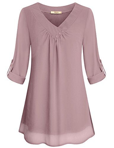 4e40899819e Miusey Tunic Blouses Women Ladies Elegant V Neck Chiffon Office Business  Sleeve Summer Soft Casual Loose Fit Pleated Front Cute Sheer Layered  Fashion 2018 ...