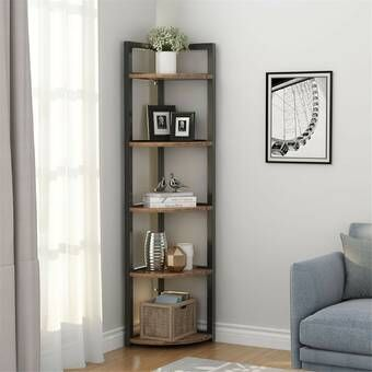 Tisha Corner Bookcase Corner Decor Living Room Corner Corner Bookshelves