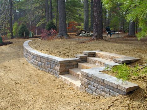 At Green Monster Landscapes, we love to make the rough place smooth with the many styles, colors and patterns of retaining block walls available today. House Landscape, Landscape Design, Garden Design, Landscape Stairs, Backyard Retaining Walls, Backyard Patio, Sloped Backyard, Hillside Landscaping, Front Yard Landscaping