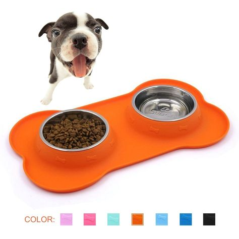 Superdesign Stainless Steel Water Food Bowls In Non Skid And No Spill Silicone Mat For Small Dogs Or Cats Click Image For More Details This Is A With Images Cat Feeding
