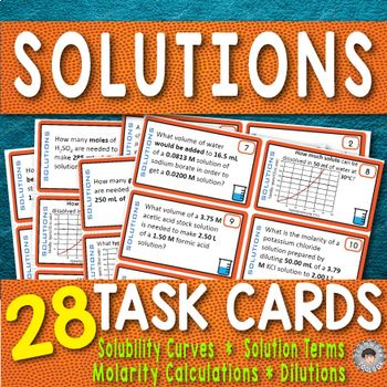 Pin By Teamwork Toolbox On Fun Chemistry Hands On Classroom Activities Task Cards Solubility Solutions
