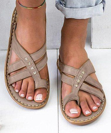 Gray Crisscross-Front Sandal - Women