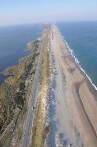 The skinny part of the Outer Banks of North Carolina, along Highway 12. Don't think I will write about bad weather and the road being washed out. I will keep my Tales on the happy side!