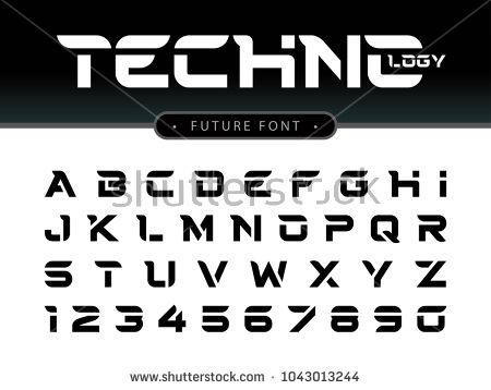 Vector Of Futuristic Alphabet Letters And Numbers Future Techno Stylized Fonts Black Letters Set For Sci Fi Lettering Alphabet Typography Alphabet Lettering