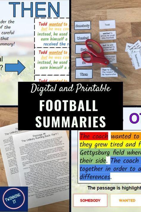 Summaries: Digital Language Arts Resource (Football Themed)