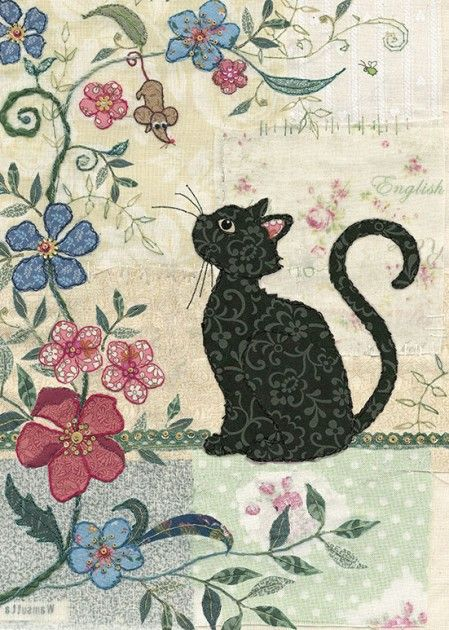 Cat & Mouse    Bug Art A024   Original embroideries by Amy Butcher. Cards designed by Jane Crowther. Embossed with gold foil and varnish to enhance the textile image