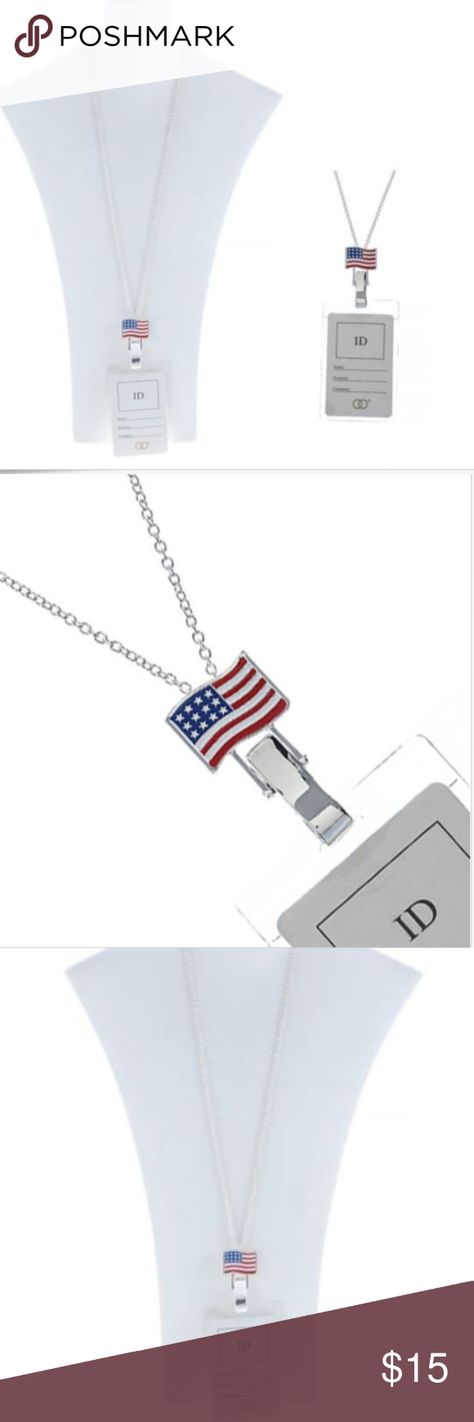 Enameled Silver Us Flag Necklace With Id Holder Boutique Silver Enamel Id Holder Silver