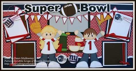 A two page layout with a Super Bowl Party theme featuring paper piecing patterns from Little Scraps of Heaven Designs