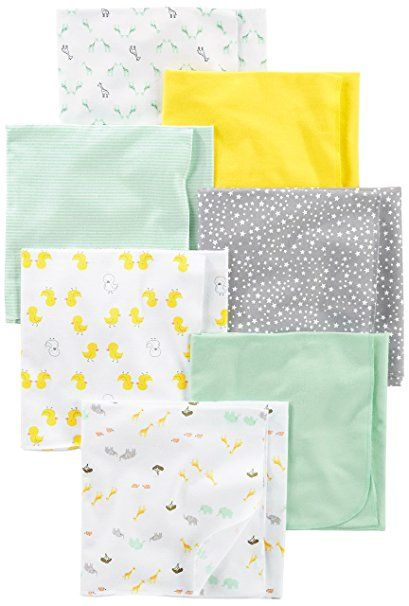26c08fb2c Simple Joys by Carter's Baby 7-Pack Flannel Receiving Blankets,  Grey/White/Mint, One Size