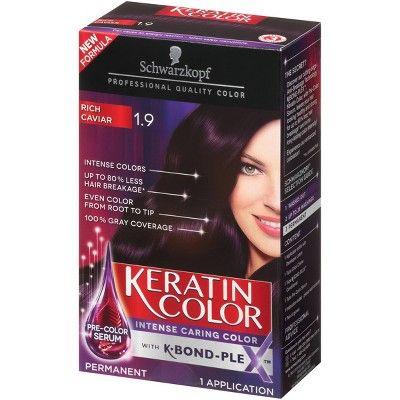 Schwarzkopf Keratin Color Anti Age Hair Color 1 9 Rich Caviar 2 03 Fl Oz 1 9 Rich Black Hair Color Cream Hair Color Hair Dye Colors