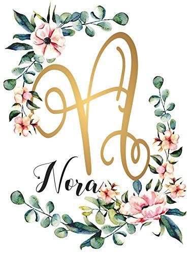 Amazon Com Nora Name Wall Decor Sign Gold Monogram Initial Floral Watercolor Name Wall Decor Gold Monogram