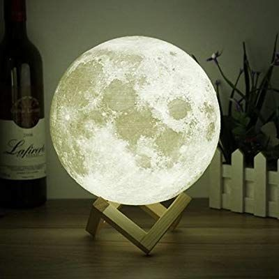 3d Space Moon Light 3d Printing Moon Stepless Dimmable Moon Lamp Shade Warm And White Touch Control Usb Charging Decor Lunar N Moon Decor Moon Light Lamp Decor