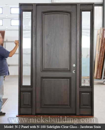 Eight Foot Tall Door The N2panel With N100 Sidelights In Clear Glass This Door Is Stained In A Dark Jaco Stained Doors Mahogany Exterior Doors Mahogany Doors