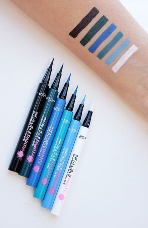Swatches of the new Infallible Paints colored L'oreal liquid eyeliner. Precise fine tip application in bold shades of blue, green, teal, black and white. Makeup Swatches, Drugstore Makeup, Makeup Cosmetics, Blue Eyeliner, Eyeliner Pencil, Liquid Liner, Eyeliner Tattoo, Blue Makeup, Makeup Organization