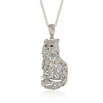 "#.15ct t.w. Black, White Diamond Cat Pendant Necklace. 18"""