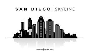 San Diego skyline silhouette design. You can see the most important buildings, it's isolated and it also says San Diego Skyline over the silhouette.