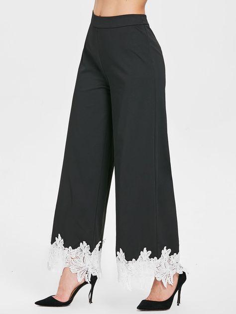 High Waist Contrast Lace Wide Leg Pants