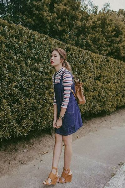Tan Shoes Are Game Changers - How To Wear the Pinafore Trend Without Looking Like A Kid - Photos