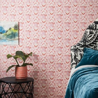 Find Product Information Ratings And Reviews For Washy Ikat Peel Stick Removable Wallpaper Coral Pink Opalhouse Onlin Removable Wallpaper Decor Opalhouse