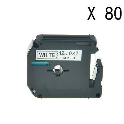 Sponsored Ebay 80pk For Brother P Touch Pt 65vp 12mm Label Tape Mk231 M231 Black On White 0 47 White Label Label Maker Tape Brother Printers