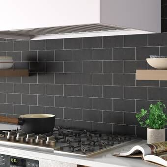 Retro Soho 2 X 8 Porcelain Subway Tile Reviews Allmodern In 2020 Modern Backsplash Kitchen Wall Tiles Black Subway Tiles