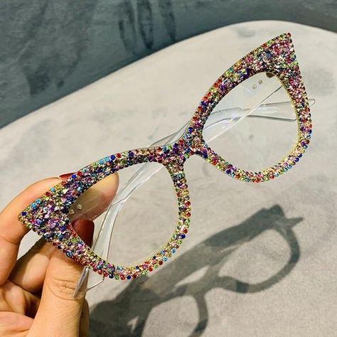 HOLLYWOOD Fashionable Cat Eye Sunglasses  Shades  Sunnies w AB White Bling Sparkly  Rhinestones Festival Rockabilly Retro Pin Up