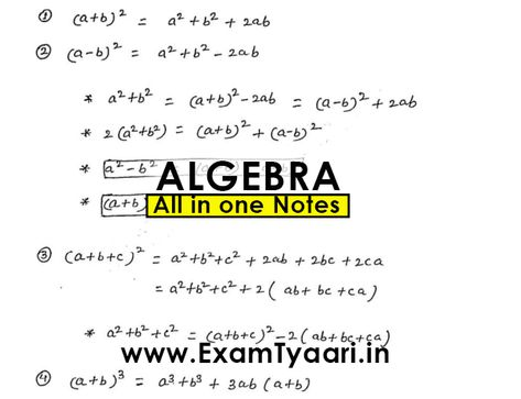 ALGEBRA Formulas Notes & Shortcuts for Competitive Exams