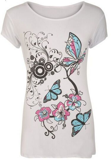 N01 New Women Designer Plus Size Butterfly Print Short Sleeve T-Shirt Ladies Top