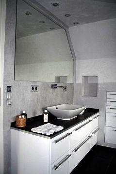 Wandgestaltung im Bad ohne Fliesen mit Kalkputz #fliesen ...
