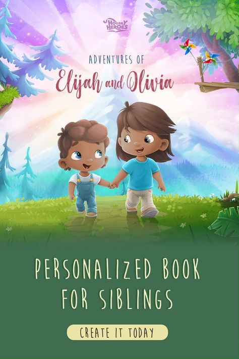 Create a special personalized book for your 2 kids to enjoy! You can personalize the older&the younger child and choose the adventures they will love!