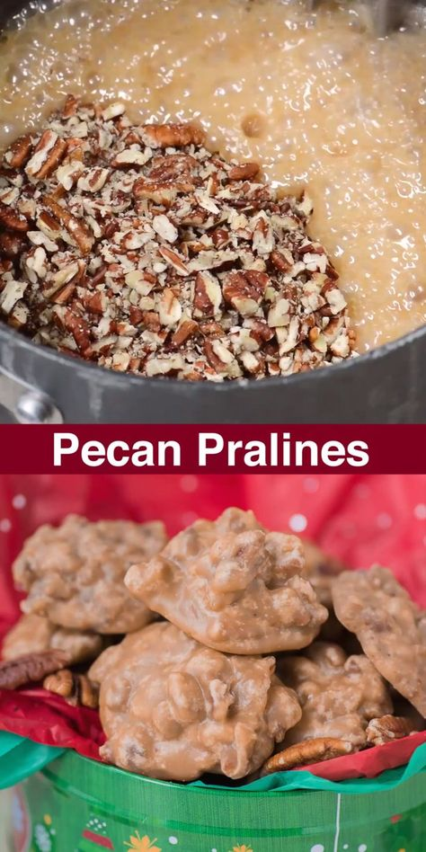 christmas candy Learn how to make classic pecan pralines at home with our tips. These pecan pralines are buttery, sugary with a nice crunch and highly addicting! Pecan Recipes, Fudge Recipes, Candy Recipes, Sweet Recipes, Cookie Recipes, Best Pecan Praline Recipe, Praline Pecans, Toffee Recipe, Candied Pecans