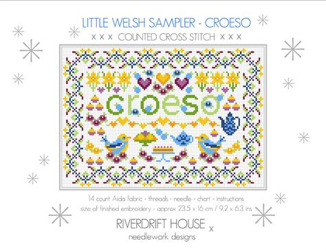 LITTLE WELSH COUNTED CROSS STITCH KIT SAMPLER KIT /'CROESO/' WELCOME