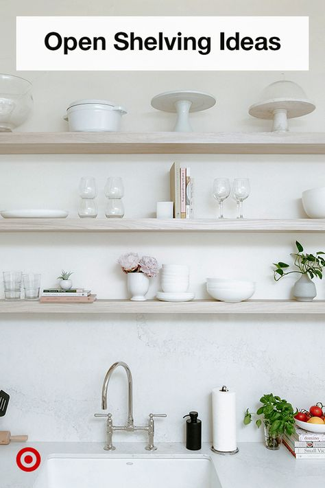 Got pretty dinnerware? Show it off! Update your kitchen with floating shelves  open storage ideas to display your glassware, plates  other decor.
