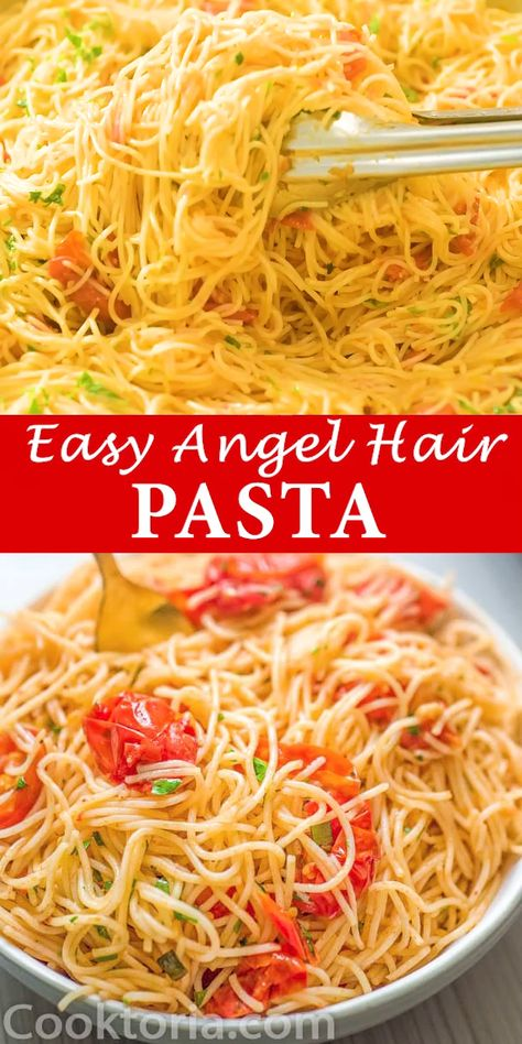 This Angel Hair Pasta is made with cherry tomatoes, garlic, and olive oil. You won't believe how simple and TASTY this recipe is! FOLLOW Cooktoria for more deliciousness! #pasta #dinner #vegetarian #vegan #mealprep #sidedish #reciepoftheday