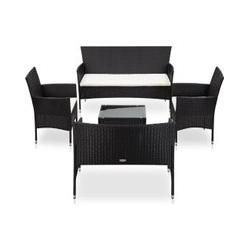 5 Tlg Garten Lounge Set Mit Auflagen Poly Rattan Schwarz Vidaxl Vidaxl Products Diese Garten S Outdoor Furniture Sets Outdoor Living Space Rattan Sofa