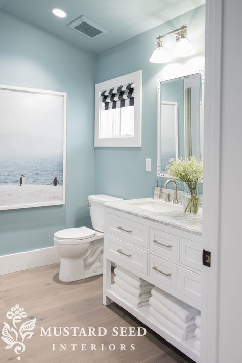 Bathroom Remodel HGTV Dream Home Tour Downstairs bathroom - colors, style of cabinet, roman shade is cute Beach House Bathroom, Beach Bathrooms, Downstairs Bathroom, Bathroom Renos, Bathroom Shelves, Bathroom Cabinets, Master Bathroom, Small Bathrooms, Aqua Bathroom