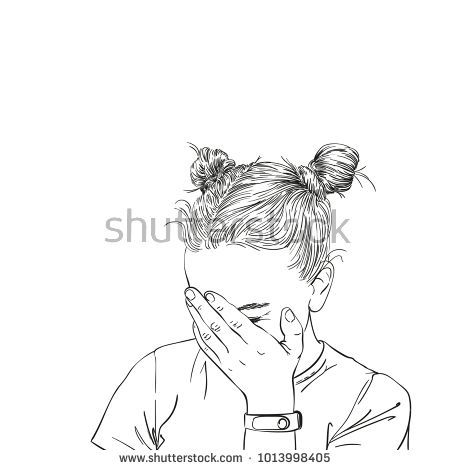 Sketch Of Teenage Girl With Two Buns Hairstyle Covered Her Face