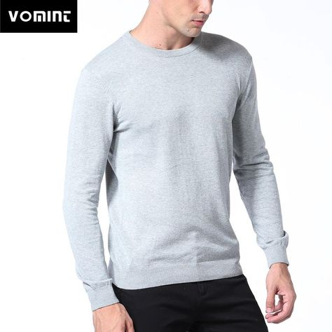Vomint Spring Basic Mens Sweater Pullovers Solid O-neck Knitted Cotton  Fabric All Match Wear Multi Color Regular Fit U6PI6833 28bda6e51