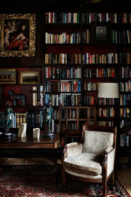 The rich colour scheme of this library was determined by a Mannerist painting by the sixteenth century artist Francesco Morandini. http://www.houseandgarden.co.uk/interiors/bookshelf-ideas-living-room-study-design/traditional-black-and-red-floor-to-ceiling-bookshelves?next#ViewImage
