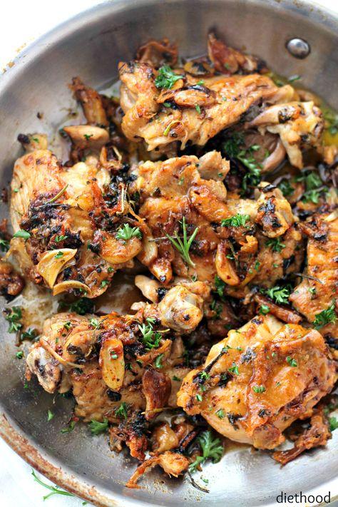 Garlic Sauce Chicken by diethood: Pan-Seared Chicken Thighs prepared with an amazing garlic sauce.  #Chicken #Garlic