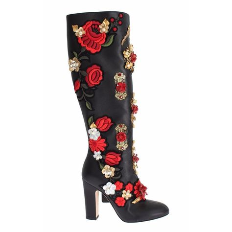 Dolce & Gabbana Boots Gorgeous, brand new with tags 100% Authentic Dolce & Gabbana black leather red Roses embroidered Enchanted Heart Swarovski Crystal boots. This items comes from the exclusive MainLine Dolce & Gabbana collection. Modell: Knee high block heels Boots Collection: Enchanted Sicily Color: Black with multicolor Roses embroidery, gold metal detailing Material: 100% Leather Sole: Leather Gold Zipper opening on the sides Red leather inner lining Red Swarovski crystals and pearls embel