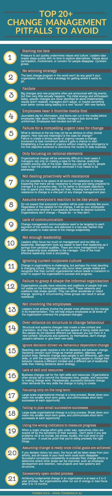 change management and organizational culture By default, any change is hard to adapt especially for a group of people if an organization's culture promotes open and collective decision making, people would know beforehand about a change that&#039s coming.