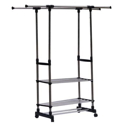 Heavy Duty Double Rail Adjustable Telescopic Rolling Clothing And