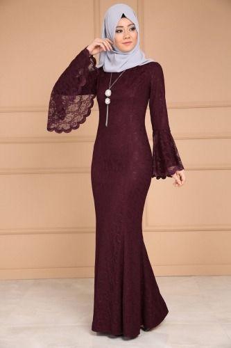 Yeni Urun Volan Kol Dantelli Tesettur Abiye Koyu Bordo Urun Kodu Cng3314 179 90 Tl Elbiseler Elbise Modelleri Orta Boy Etek